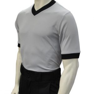 "USA218 – Smitty ""Made in USA"" – Solid Grey Mesh V-Neck Shirt w/ Black Collar and Sleeve Ends"