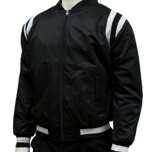 BKS227 Collegiate Style Black Jacket w Black and White Side Insets